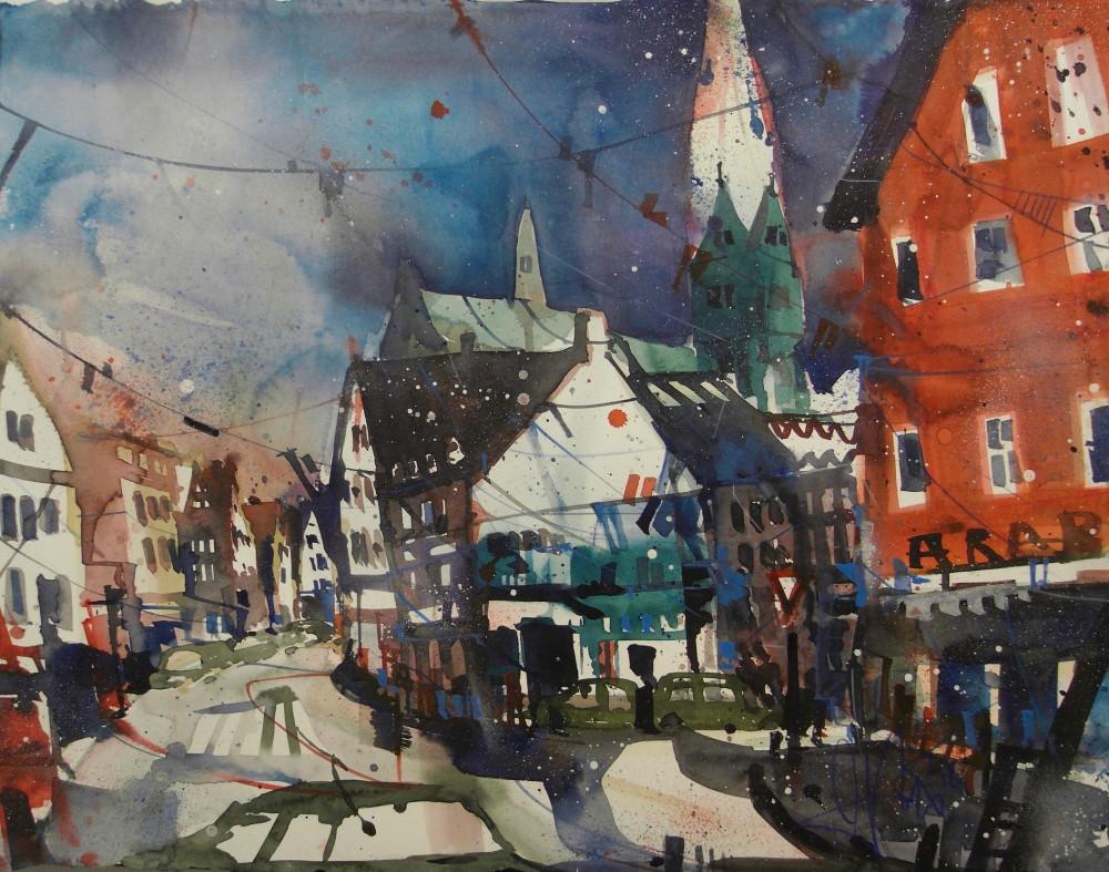 Lübeck, Watercolor 56/76 cm, Andreas Mattern, 2015